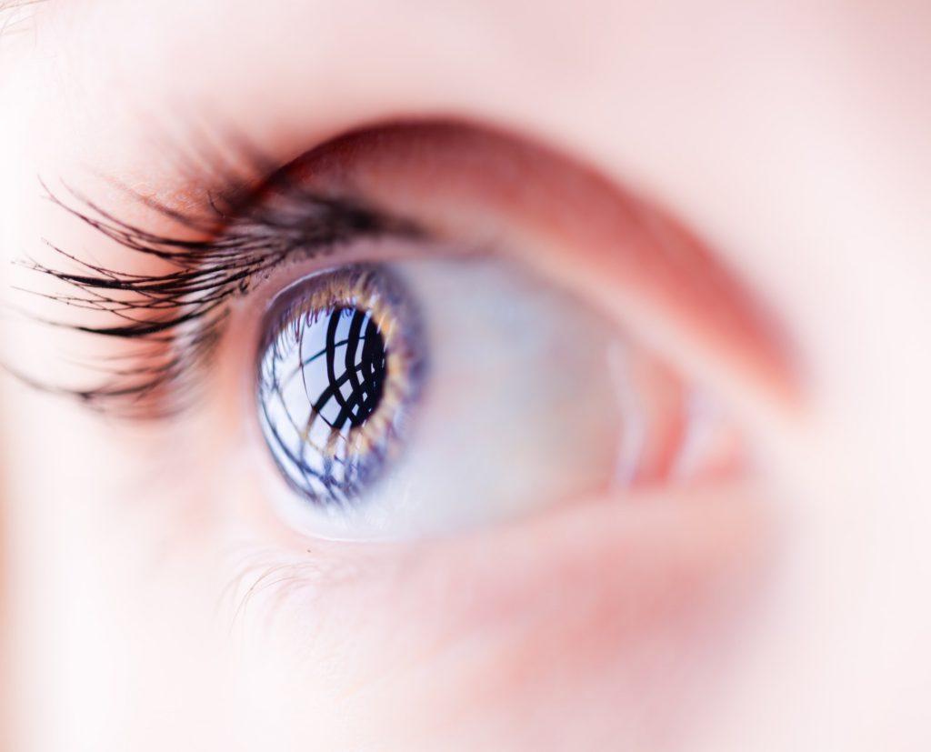 Closeup of a blue female eye
